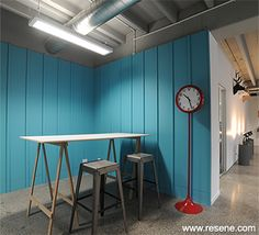 Resene Paints used in Leading Edge Communications redecoration Lead Edge, Open Plan, Bar Stools, Commercial, Furniture, Home Decor, Bar Stool Sports, Decoration Home, Room Decor