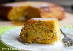Torta de Maduro is a savory baked Ripe Plantain and Cheese Cake Colombian Dishes, My Colombian Recipes, Colombian Food, Plantain Recipes, Banana Recipes, Cookbook Recipes, Cooking Recipes, Ripe Plantain, Latin Food