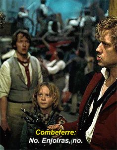 Cries b/c Combeferre is talking about Enjolras giving Javert's life to Jean Valjean. Ferre hates all this death and suffering; he hates how Enj has to make such decisions; and the outcomes he comes too. In the book he asks Enjolras to not kill the soldier. He replies that he does not want to but he must. Combeferre has to deal with all this death and I just. *Feels!* (And on a happier note; also a cute reaction gif for when Enj does stupid things)