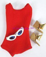 Vintage 1960's Barbie FASHION PAK RED HELENCA SWIMSUIT Gold Cork Shoes Glasses