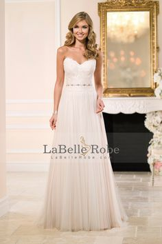 This flowing Stella York sheath bridal gown was imagined and crafted to provide an exceptional fit without sacrificing comfort and is perfect for a beach wedding dress! Lace Wedding Dress, 2015 Wedding Dresses, Gorgeous Wedding Dress, Bridal Dresses, Wedding Gowns, Bridesmaid Dresses, Tulle Wedding, Dresses Dresses, Wedding Pics