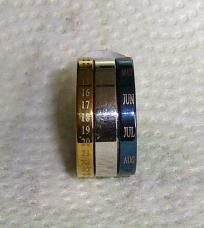 Gold and Blue Calendar Rings size6.5