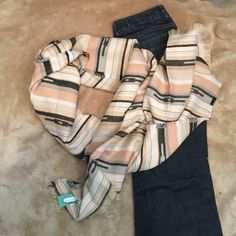NWT blanket scarf Brand new w tag. Retail $29. Super cute and soft! Colors-peach/pink, grey, white, cream and black/dark grey. Maurices Accessories Scarves & Wraps