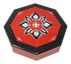 A vintage, octagonal bento or storage box, with red and black lacquered finish, and floral mother of pearl inlay designs. A removable divider is included. minor wear consistent with age and normal use. Asian Decor, Decorative Boxes, Pearls, Serving Dishes, Bento, Floral, Divider, Red, Vintage