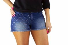 Material Girl Frayed Hem Jean Denim Shorts Size 9 True Blue Wash Studded Cut Off #MaterialGirl #FrayedHemJeanDenimShorts