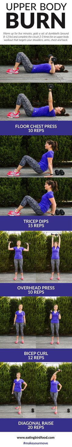 Upper Body Burn with five different moves to target your shoulders, arms, chest and back