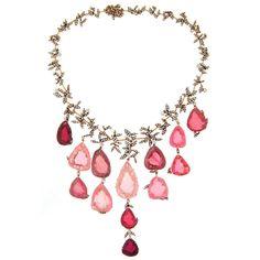 H. Stern Tourmaline Pink Quartz Drop Diamond Necklace   Estate