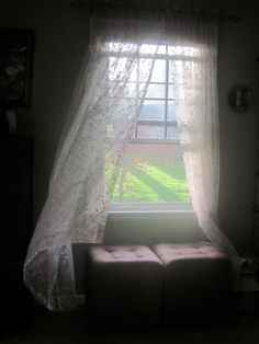 Love the romance of billowing sheer curtains - not sure about practicality though, as I like to place lanterns and tee light holders on my windowsills. Looking Out The Window, Through The Looking Glass, Window View, Open Window, Relax, Lace Curtains, Through The Window, Window Dressings, My Living Room