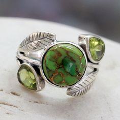 <ul><li>Peridot composite turquoise accent ring</li><li>Sterling silver jewelry</li><li><a href='http://www.overstock.com/downloads/pdf/2010_RingSizing.pdf'><span class='links'>Click here for ring sizing guide</span></a></li></ul>