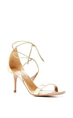 Linda Metallic Leather Sandals by AQUAZZURA Now Available on Moda Operandi