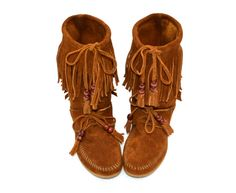 vintage minnetonka boots / moccasins / native american hippie fringe suede shoes / US 6 on Etsy, Sold