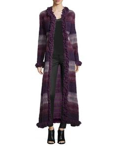 Brushed Wool Long Gauze Coat, Deep Purple by Anna Sui at Neiman Marcus.