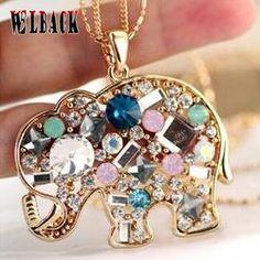 Crystal Rhinestone Elephant Necklace
