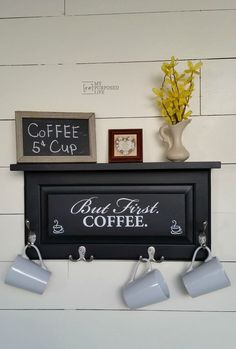 Four easy cabinet door projects will inspire you to think outside the box and create some great home decor items with old cabinet doors, But First. Coffee