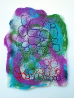 'Wet' felt with machine embroidery by Chris Dodsley @madebyChrissieD.com - see more of my Textile Art here on my blog: http://madebychrissied.blogspot.com/p/textile-art_20.html