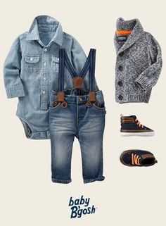 A classic marled shawl collar looks sharp over chambray. Take this little-man look to the next level with suspenders and faux leather high tops!