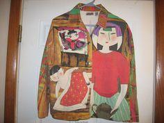 Chico's Design 1 Japanese Koi Baby Woman Tea Asian Print Women's 8 10 Medium #Chicos #JeanJacket #KoiFashion