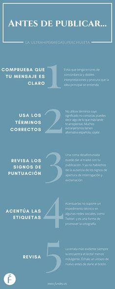 Aquí tienes la «ultrahipermegasuperchuleta» de la Fundéu BBVA con cinco consejos que te serán muy útiles antes de publicar en las redes sociales.
