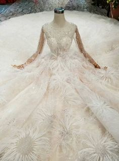 137204e93fed Champagne Ball Gown Tulle Sequins Long Sleeve Bateau Wedding Dress With  Feather