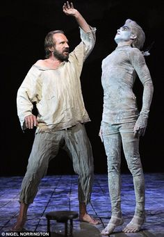 Ralph Fiennes (left) plays Prospero and Tom Byam Shaw (right) plays Ariel in William Shakespeare's The Tempest