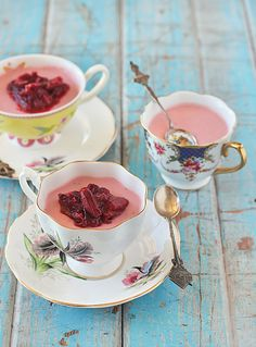 Strawberry Panna Cotta with Roasted Rhubarb in pretty teacups