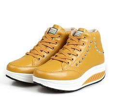 Womens #yellow leather rocker bottom #sneaker sport shoe rivet decoration, lace up closure, leather upper and mesh lining.