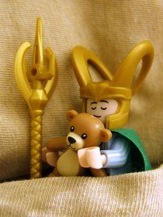 Lego Loki hugging a teddy bear :)