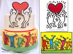 Keith Haring Cake: This cake really pops, in more ways than one! Inspired by the prolific pop graffiti artist, this cake is a beautiful tribute to Keith Haring's bold, clean lines and highly recognizable cartoon-like characters. Designed by an Italian baking outfit known as VampiAmiche Cakedesigners, this cake is covered with fondant, with outlined cut out characters which are adhered for a pop-out effect. Photo via VampiAmiche Cakedesigners