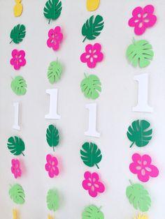 Tropical Birthday decorations - birthday garland - Tropical luau party decor - Hawaiian birthday banners - island birthday from anyoccasionbanners Hawaiian Birthday, Luau Birthday, 1st Birthday Parties, Birthday Highchair, Hawaiian Luau, Birthday Ideas, Moana Birthday Party Ideas, Hawaiian Parties, Birthday Garland