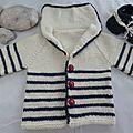 Petit paletot marin de Nadia de l'album Tricot Baby Wearing, Pull, Knit Crochet, Album, Knitting, Sweaters, How To Wear, Fashion, Pink