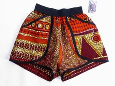 High Waist African Print Pants Shorts  Bold Bright by tribalgroove, $55.00