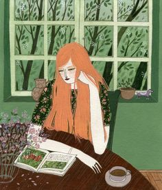 """Hang on. It gets easier and then it gets okay and then it feels like freedom."" ▼ Anonymous  - Illustration: ""The Reader"" by Yelena Bryksenkova"