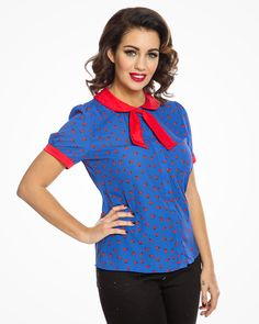 'Mim' Blue Ladybird Print Shirt | Vintage Inspired Fashion | Lindy Bop