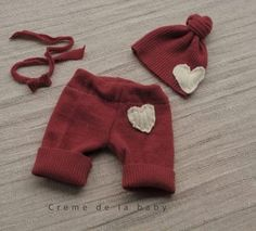 Upcycled Knee Pants with Hat & Tie Back Size Newborn-3 months    $ 60.00    Size 0-3 months, Ready to ship.    PHOTO PROP ONLY/Can not be worn otherwise.    Made of upcycled wool fabrics, drawstring. . Matching Hat