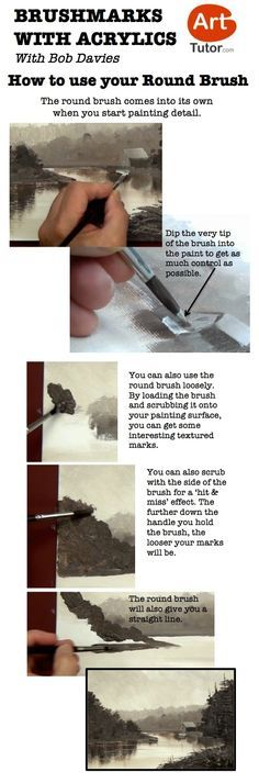 Here's a few quick tips for using your round brush in acrylics - taken from Bob Davies' Acrylic Painting Foundation Course Acrylic Painting Techniques, Painting Lessons, Art Techniques, Art Lessons, Painting & Drawing, Painting Tools, Bob Davies, Round Brush, Acrylic Art