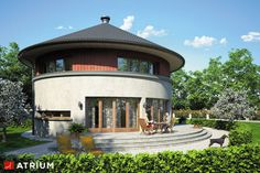 Luxury House Plans, Dream House Plans, My Dream Home, Round House Plans, 6 Bedroom House Plans, Concrete Staircase, Round Building, Thatched Roof, Interior Architecture