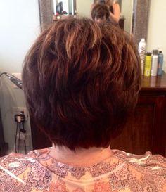 Short women's layered hair cut