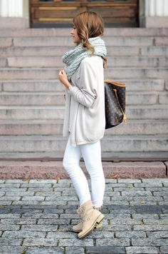 AUTUMN STYLE: For a pretty feminine autumn look, opt for light colours and light weight fabrics. Grey, nude and white shades always work beautifully together and add a pretty edge to an outfit without wearing too much actual colour.