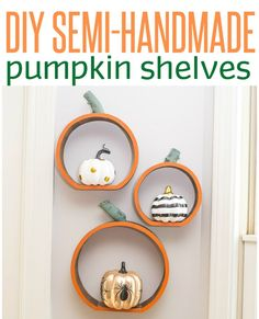 How-to-make-decorative-pumpkin-shelves. A great fall or Halloween decoration. Halloween Snacks, Vintage Halloween, Fall Halloween, Halloween Crafts, Halloween Decorations, Fall Decorations, Halloween Ideas, Pumpkin Crafts, Fall Crafts