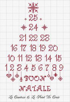 Siamo quasi a Dicembre...e allora ho pensato ad uno schemino-calendario dell'Avvento, da ricamare un numero al giorno, dal 1° Dicembre fino...