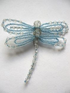 Items similar to Beaded Dragonfly Brooch in Blue Clear Summer Gift Jewelry Art Souvenir on Etsy Beaded Dragonfly, Dragonfly Jewelry, Wire Jewelry, Jewelry Art, Jewelry Gifts, Beaded Jewelry, Handmade Jewelry, Beaded Necklace, Unique Jewelry