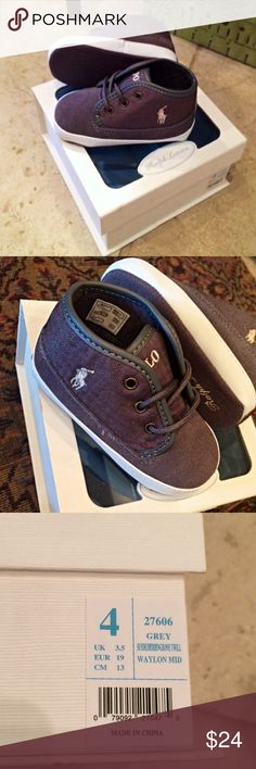 Polo Waylon Mid Sneakers Waylon Mid sneakers by Polo Ralph Lauren in dark grey herringbone. Pull on construct. Leather and canvas upper with brand embroidery. Suede bottom and herringbone pattern upper. Polo by Ralph Lauren Shoes Baby & Walker