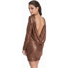 Club L Cowl Back Sequin ($15) ❤ liked on Polyvore featuring dresses, brown dress, high-low dresses, cowl back dress, sequin cocktail dresses and sequined dresses