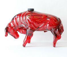Red Bull Glass Decanter Empty Tequila Bottle Barware Original Labels