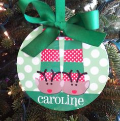 Personalized Reindeer Slipper Ornament  Two by ThatPartyChick, $15.00