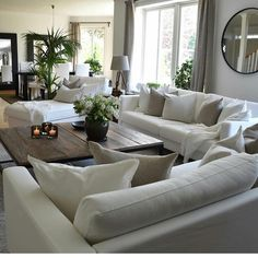 This is the furniture layout I want. home decor ideas cozy living rooms Cozy Living Rooms, Living Room Interior, Home Living Room, Apartment Living, Living Room Designs, Living Room Neutral, Living Room With Plants, Monochromatic Living Room, Living Room Decor Styles