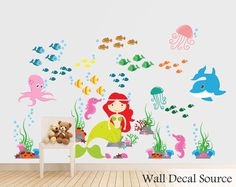Mermaid Wall Sticker - Ocean Wall Sticker - Under the Sea Decal - Nursery Vinyl Stickers - Reusable Available by WallDecalSource on Etsy https://www.etsy.com/listing/155523900/mermaid-wall-sticker-ocean-wall-sticker