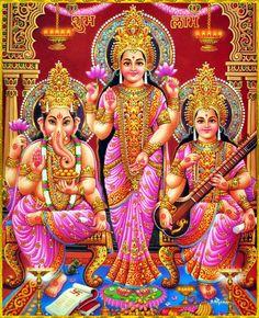 Shri Lakshmi Devi, Saraswati Devi, Ganesh ॐ Hii Durga Images, Lakshmi Images, Shri Ganesh, Durga Puja, Krishna, Lord Ganesha, Jai Hanuman, Shiva Art, Hindu Art