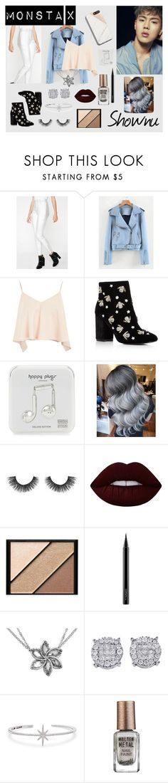 """""""Monsta X's Shownu Beautiful Inspired"""" by highlight1 on Polyvore featuring Honey Punch, Topshop, Kenneth Cole, Happy Plugs, Velour Lashes, Lime Crime, Elizabeth Arden, MAC Cosmetics, APM Monaco and Barry M"""