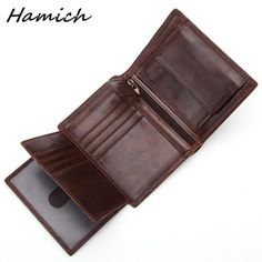 47c6cba91ddf2 Genuine Leather Card Holder Coin Purse Pocket Retro Three Fold Wallet Men s  Wallet First Layer Leather Male Retro Bag for Dollar